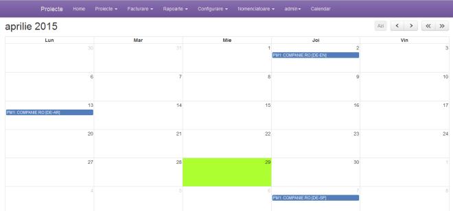 calendar cu termene proiecte cu filtrare dupa manager de proiect, tip de termen si alte optiuni
