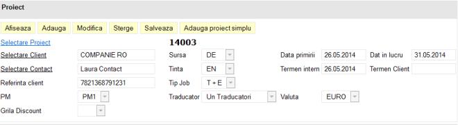 formular cu campuri pentru un proiect de traducere