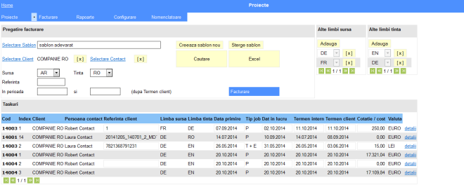 ecran filtrare dupa client, contact, limbi tinta si sursa, perioada si referinta client